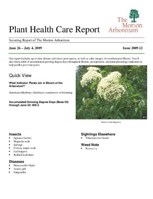 Plant Health Care Report: Issue 2009.12
