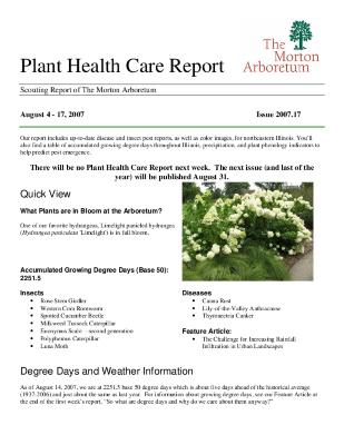 Plant Health Care Report: Issue 2007.17