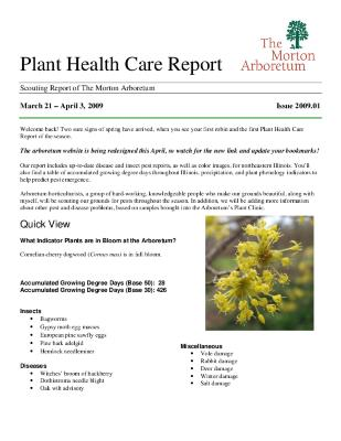 Plant Health Care Report: Issue 2009.01
