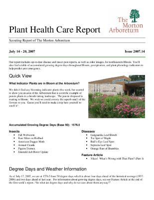 Plant Health Care Report: Issue 2007.14