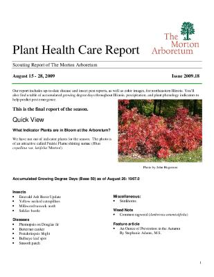 Plant Health Care Report: Issue 2009.18