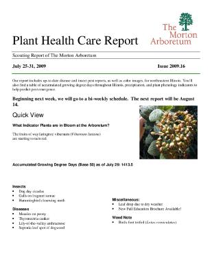 Plant Health Care Report: Issue 2009.16