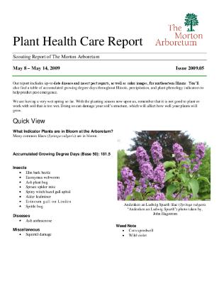 Plant Health Care Report: Issue 2009.05