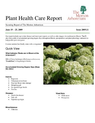 Plant Health Care Report: Issue 2009.11