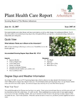 Plant Health Care Report: Issue 2007.10