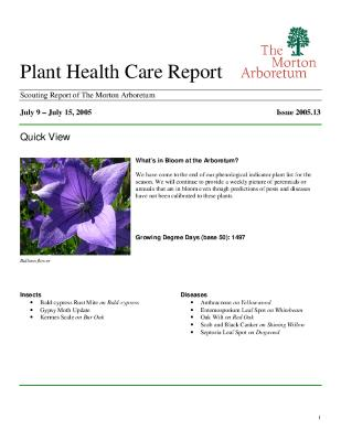 Plant Health Care Report: Issue 2005.13