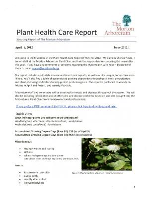 Plant Health Care Report: Issue 2012.1