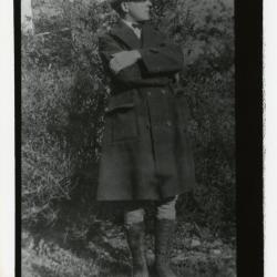 Clarence E. Godshalk outside South Farm house