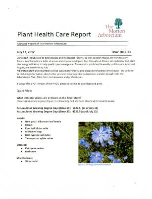 Plant Health Care Report: Issue 2012.13
