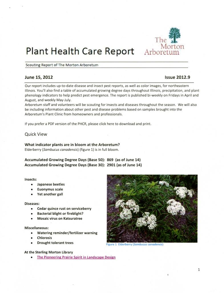 Plant Health Care Report: Issue 2012.9