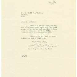 1934/10/22: A. J. Lepine to Marshall Johnson