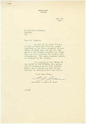 1935/04/10: A. J. Lepine to Marshall Johnson