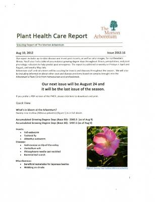 Plant Health Care Report: Issue 2012.16
