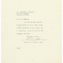1937/03/17: A. J. Lepine to Marshall Johnson