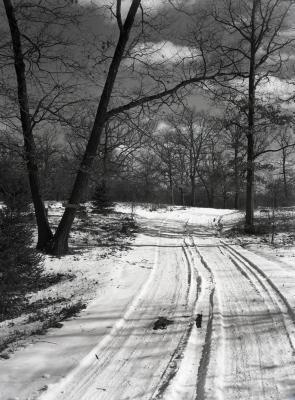 Ridge Road in winter looking east
