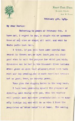 1898/02/08: Robert W. Furnas to Morton (Joy Morton)