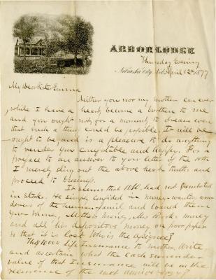1877/04/12: J. Sterling Morton to Emma Morton