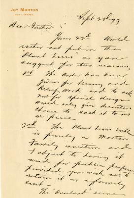 1899/09/23: Joy Morton to J. Sterling Morton
