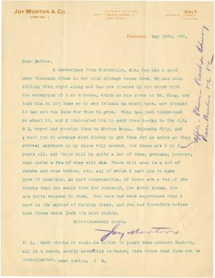 1898/05/13: Joy Morton to J. Sterling Morton