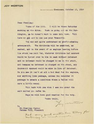 1916/10/12: Joy Morton to Sterling Morton