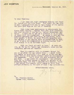 1916/10/23: Joy Morton to Sterling Morton