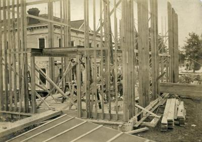 Arbor Lodge remodeling construction, framing
