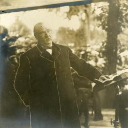 Memorial dedication in honor of J. Sterling Morton at Arbor Lodge, President Grover Cleveland giving dedication speech