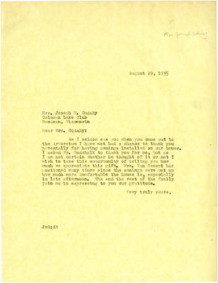 1935/08/29: [John Van Gemert?] to Jean Cudahy