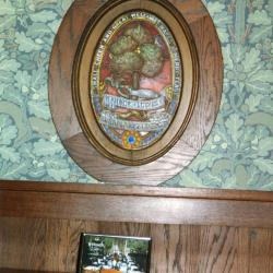 Arbor Lodge State Historical Park and Mansion, plaque on wall over framed picture of dining table