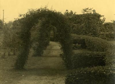 Arbor Lodge gardens and surrounding landscape, path through garden arbors