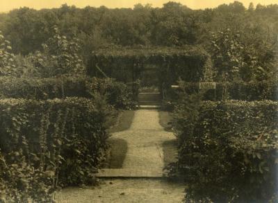 Arbor Lodge gardens and surrounding landscape, walking path toward garden arbor