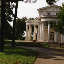 Arbor Lodge State Historical Park and Mansion, path leading to Arbor Lodge mansion rotunda porticoes