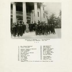 Memorial dedication in honor of J. Sterling Morton at Arbor Lodge, formal group portrait in front of rotunda