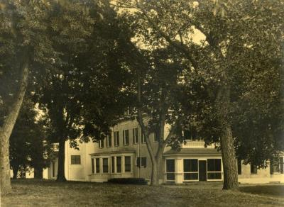 Arbor Lodge, exterior view from lawn