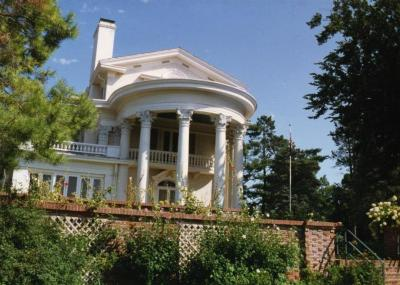Arbor Lodge State Historical Park and Mansion, exterior, rotunda portico behind garden wall