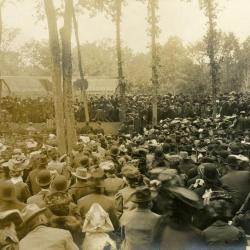 Memorial dedication in honor of J. Sterling Morton at Arbor Lodge, view from crowd looking toward podium