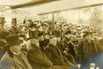 Memorial dedication in honor of J. Sterling Morton at Arbor Lodge, ceremony attendees, President Grover Cleveland on right