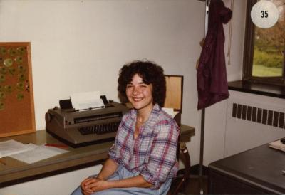 Marilyn Halperin at desk