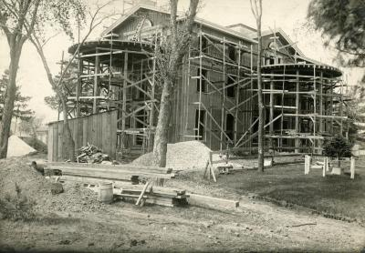 Arbor Lodge remodeling construction, house with rotundas framing erected