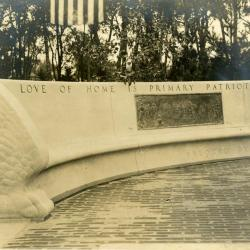 Memorial dedication in honor of J. Sterling Morton at Arbor Lodge, curved bench around statue