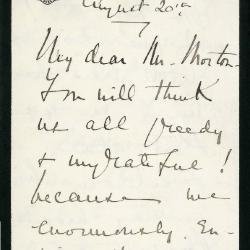 1910-1925/08/20: Mary S. Potter to Mr. Morton [Joy Morton]