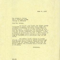 1947/06/27: Clarence Godshalk to Joseph Cudahy