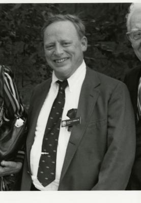 Charles Haffner III, cropped, standing with Clarence Godshalk and Suzette Morton Davidson