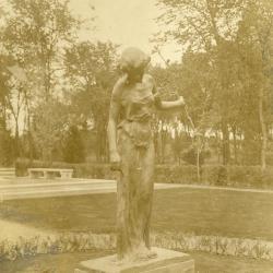 Memorial dedication in honor of J. Sterling Morton at Arbor Lodge, wood nymph statue holding sapling