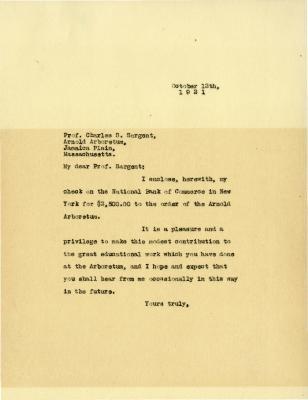 1921/10/12: [Joy Morton] to C. S. Sargent