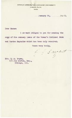 1922/01/30: C. S. Sargent to Mrs. N. A. Bryan