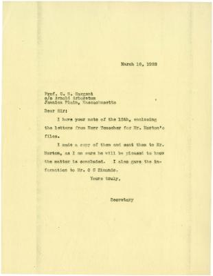 1922/03/18: [Mrs. N. A. Bryan] to C. S. Sargent