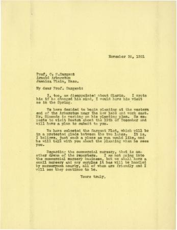 1921/11/28: Joy Morton to C. S. Sargent