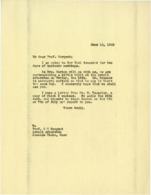 1922/06/12: Joy Morton to C. S. Sargent