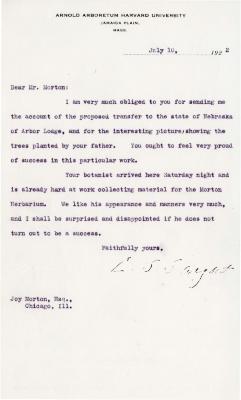 1922/07/10: C. S. Sargent to Joy Morton